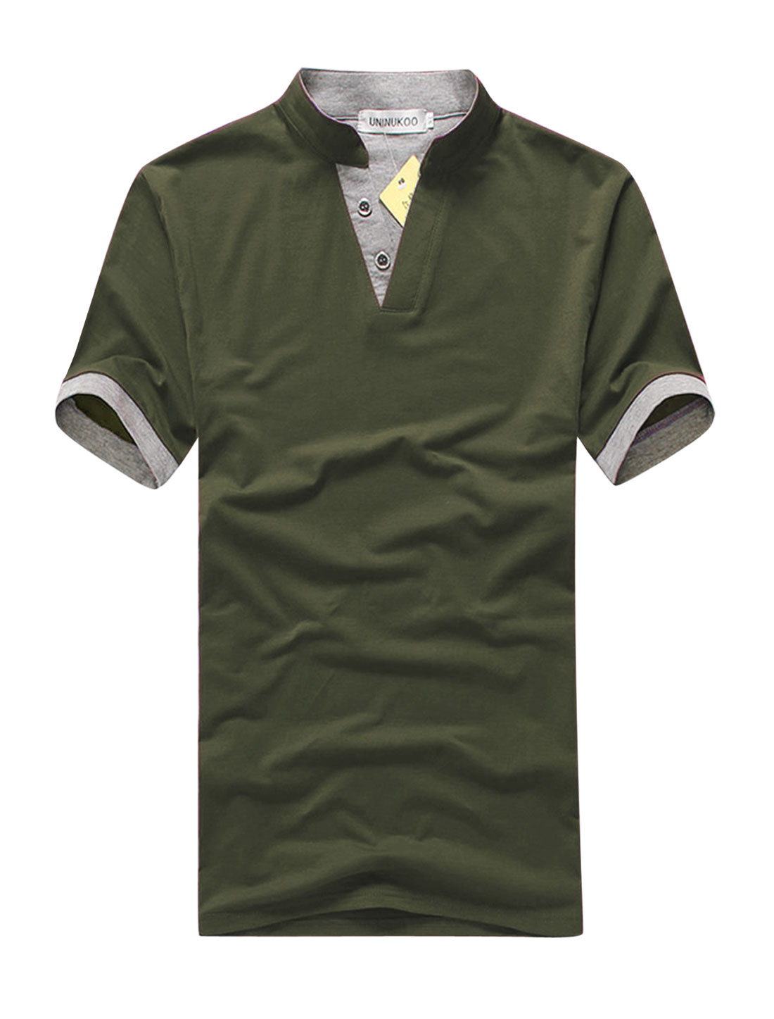 Men Pullover Stand Collar 3/4 Placket Slim Fit Shirt Olive Green M