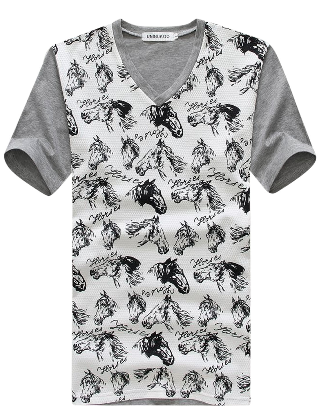 Pullover Horse Prints Panel Design Casual T-Shirt for Men Gray M