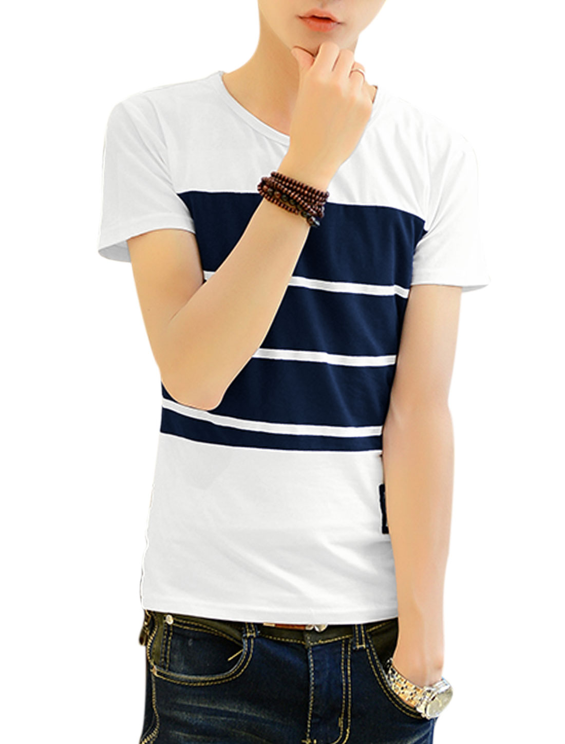 Men NEW Trendy Two Tone Letters Applique Tee White Navy Blue M