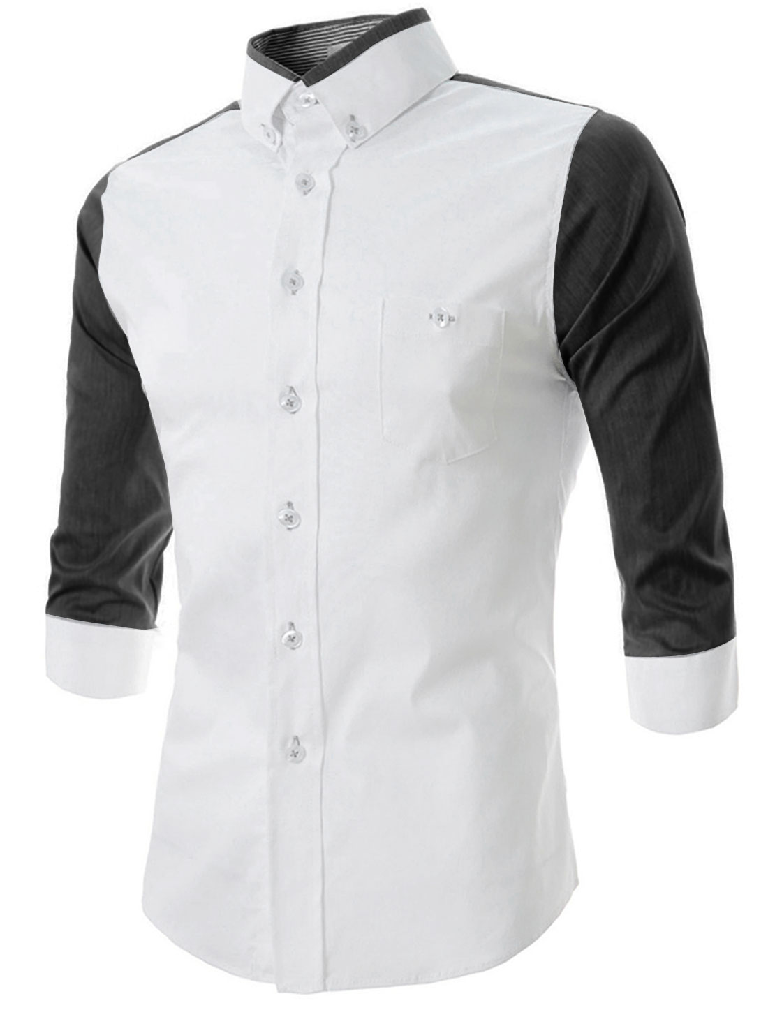 Men Convertible Collar Chest Pockets Panel Half Sleeve Shirt White M