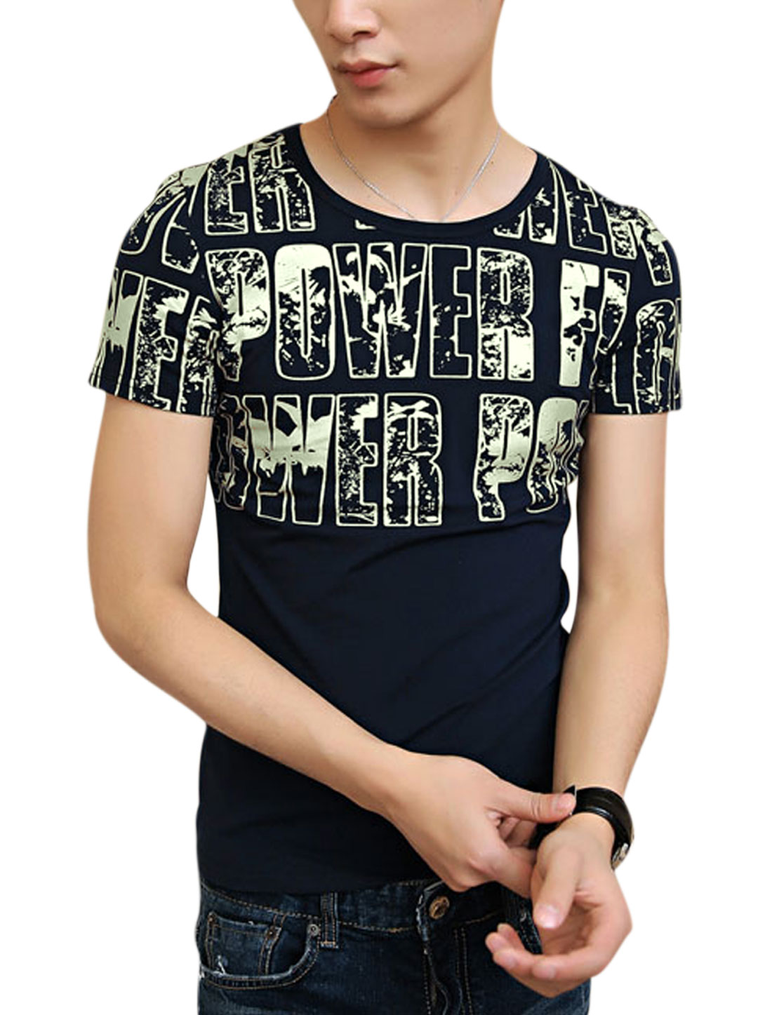 Round Neck Short Sleeve Letters Prints Leisure Tee for Men Navy Blue S
