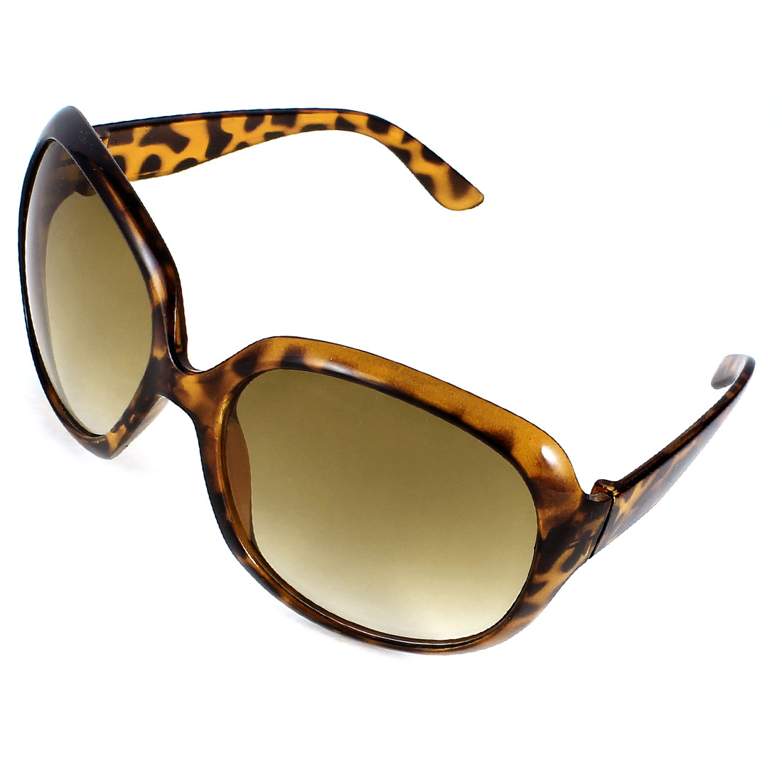 Brown Leopard Print Plastic Arms Rimmed Sunglasses for Ladies