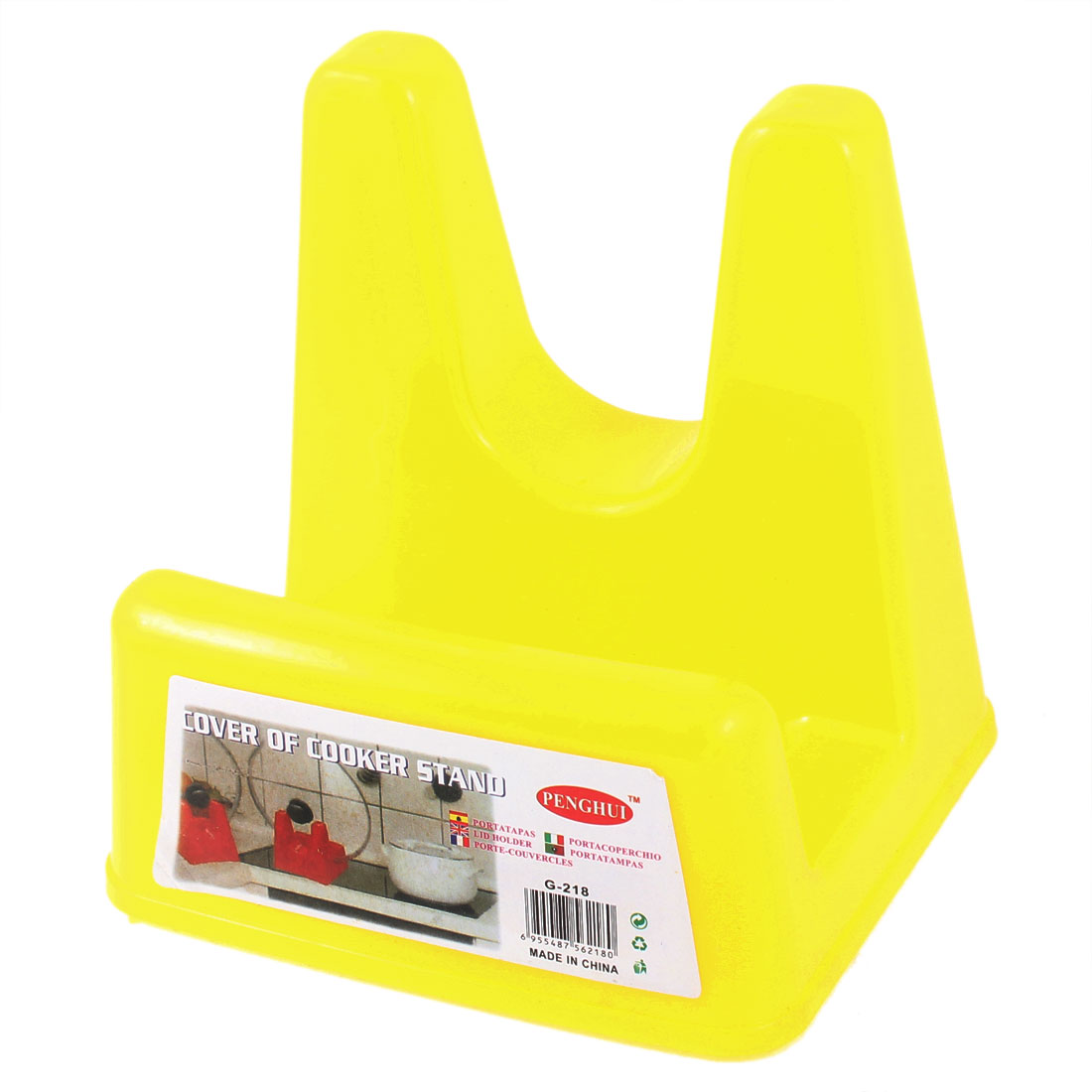 Household Kitchen Yellow Plastic Rack Holder Shelf for Pan Pot Lid Cover