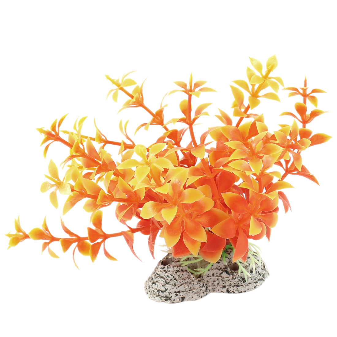 "Aquarium Aquascaping Decor Simulated Plastic Aquatic Plant Orange 4.3"" Height"