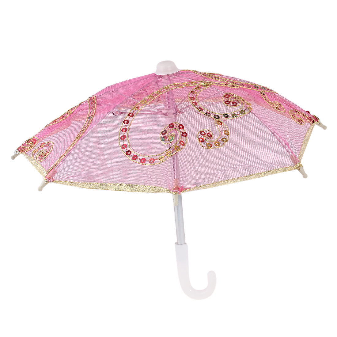 Wedding Gold Tone Edge Flower Pattern Plastic Handle Mini Lace Umbrella Fuchsia