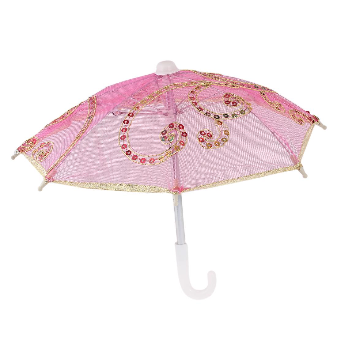 Wedding Gold Tone Edge Flower Pattern Plastic Handle Mini Lace Umbrella Fuchsia