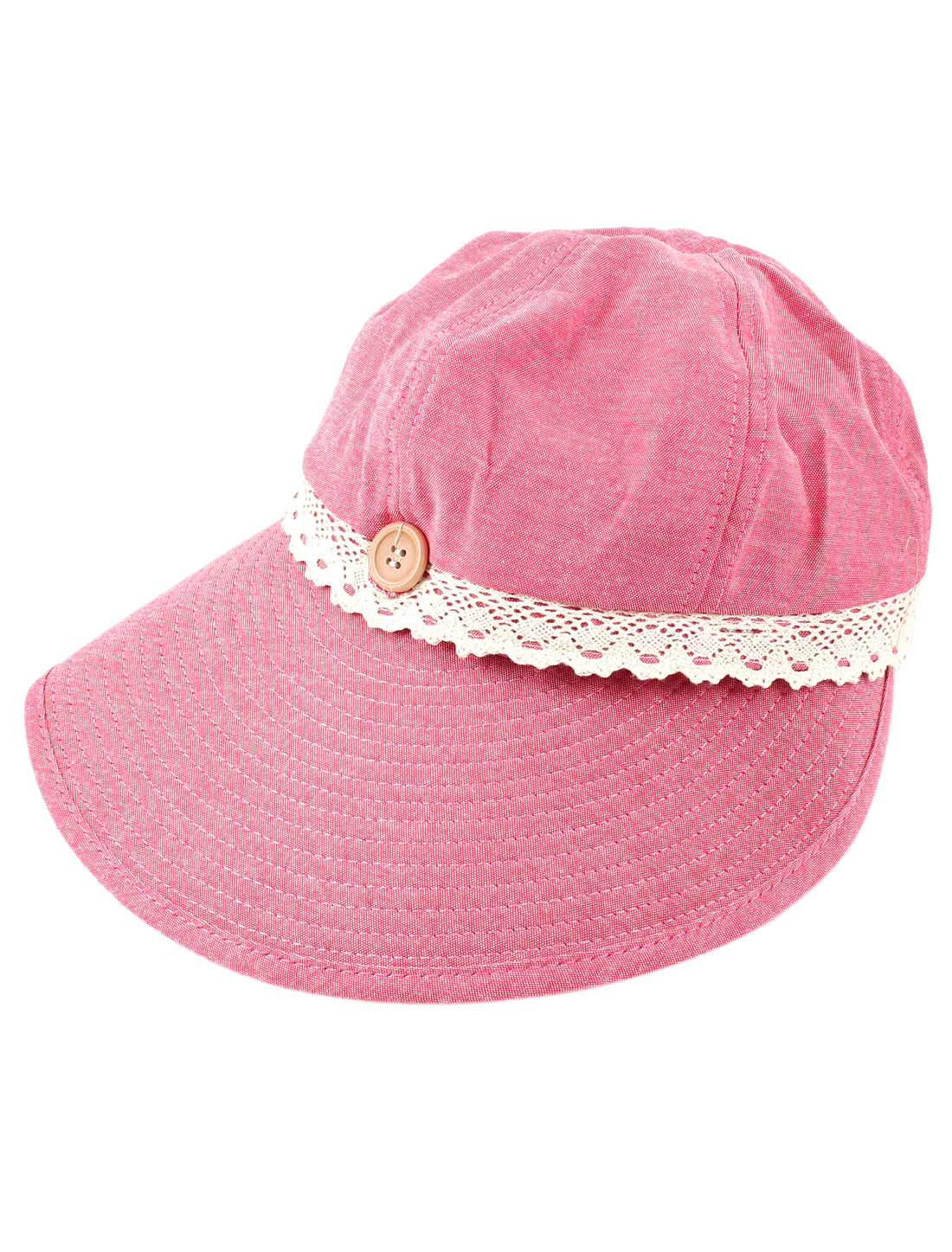 Woman Detachable Buttons Decor Wide Brim Visor Cap Summer Hat Pink