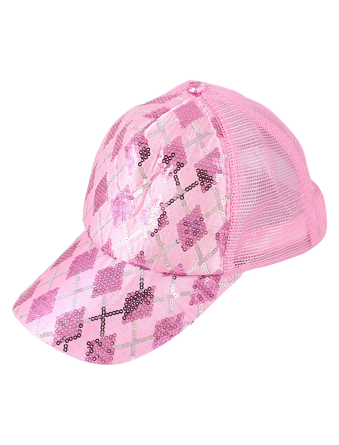Paillette Accent Sun Visor Baseball Cap Hat Pink White for Woman