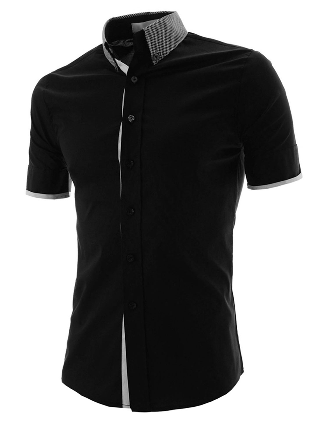 Men Convertible Collar Buttoned Cuffs Single Breasted Shirt Black M