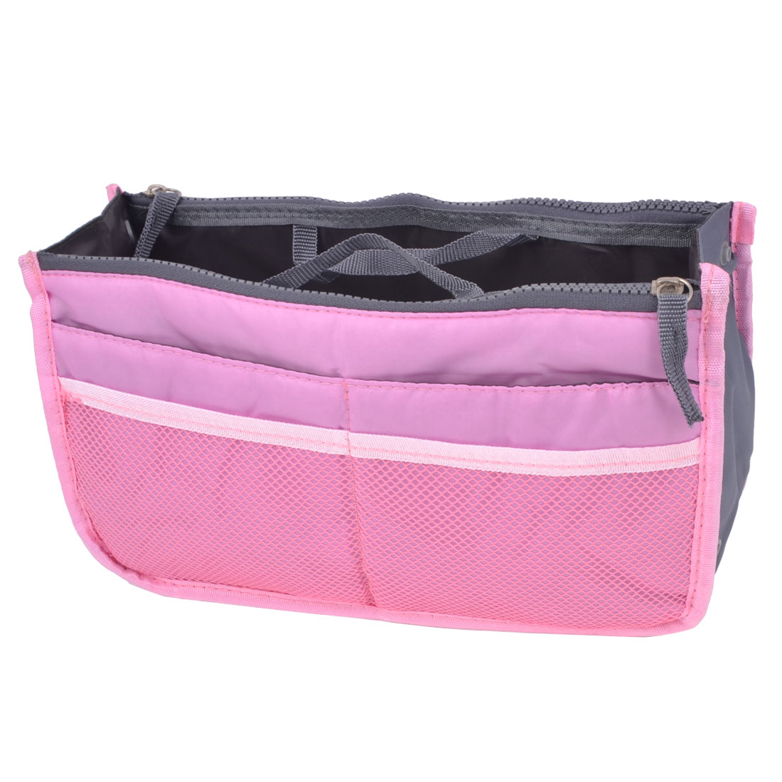 Rectangle Meshy Design Zipper Closure Handbag Storage Bag Holder Rosy