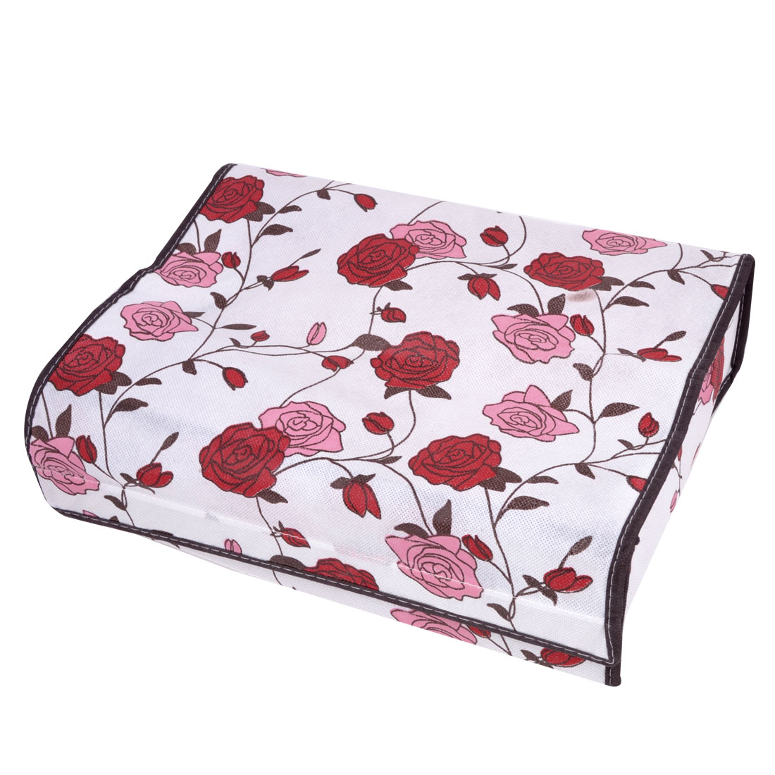 Portable Rose Pattern Card Board Unfoldable Storage Box Container White Red Pink