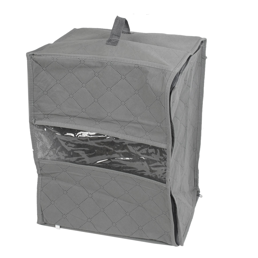 Foldable Grid Design Non-woven Fabric Zip up Clothe Quilt Storage Bag Case Gray