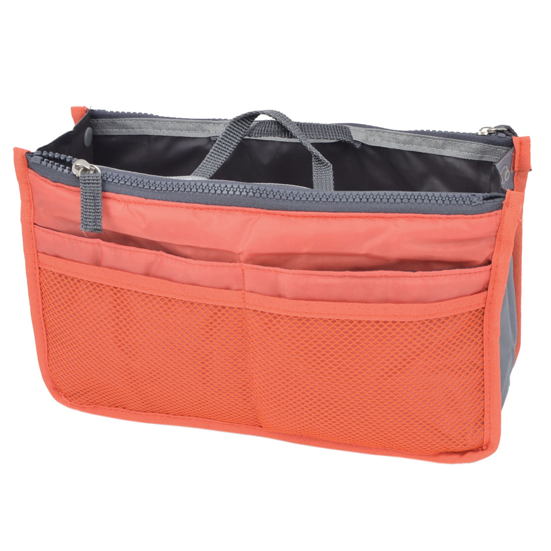 Rectangle Meshy Design Zipper Closure Handbag Storage Bag Holder Orange Red