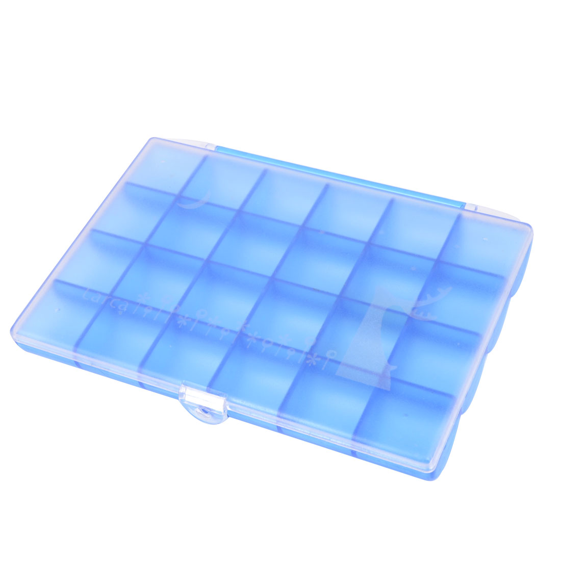 Blue Plastic Comparted 24 Slot Jewelry Collect Case Storage Box