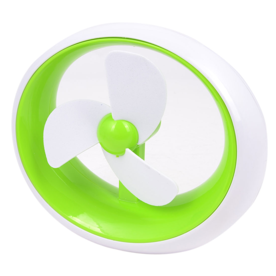 Green White Plastic Oval Battery USB Power PC Laptop Cooling Fan