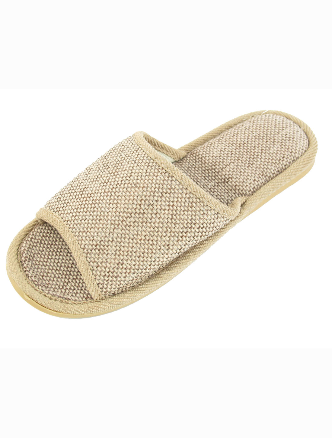 Home Open Heel Nonslip Linen Slippers Khaki for Man US 8