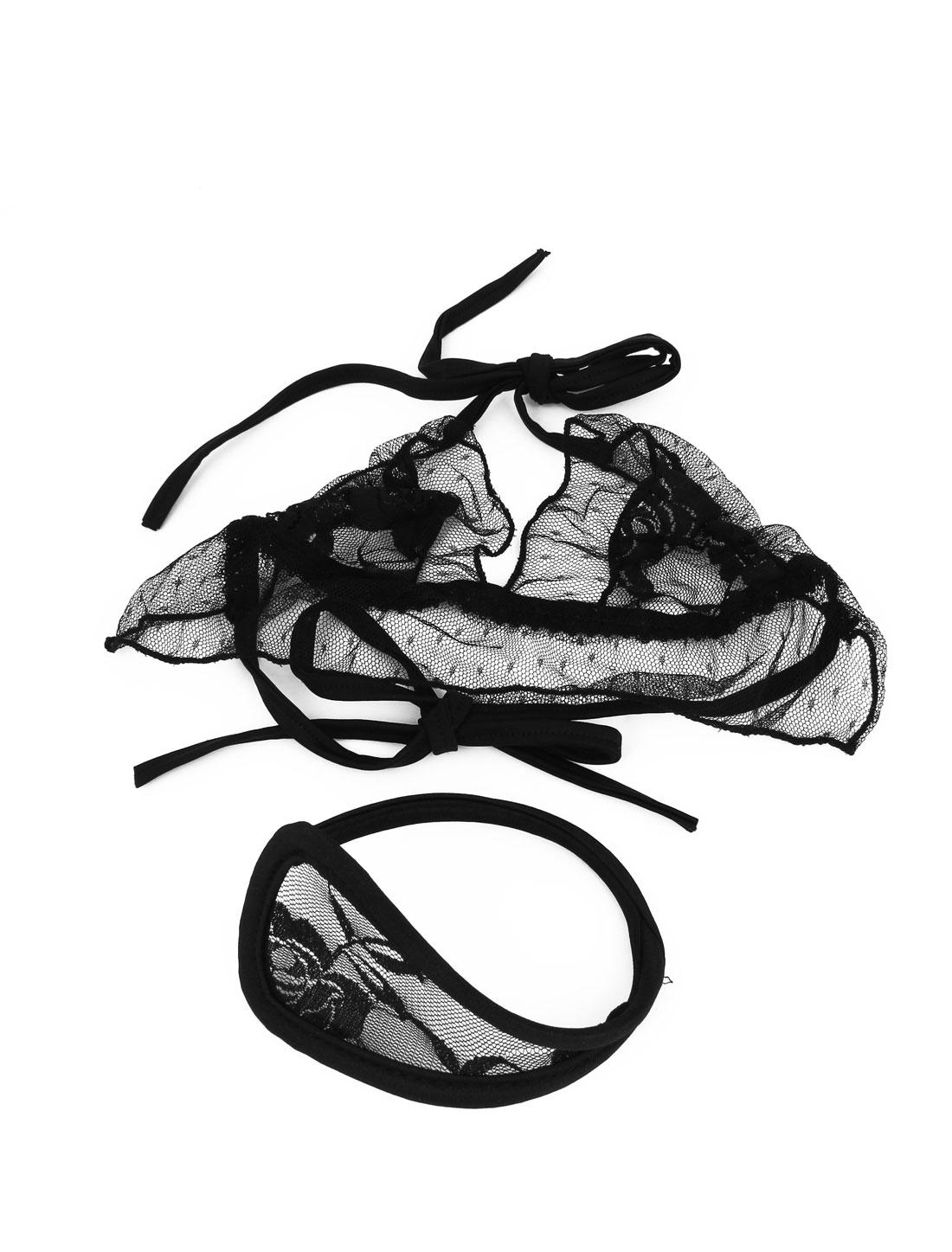 Ladies Meshy Top w C-String Mini Bikini Thong Invisible Underwear Suit Black