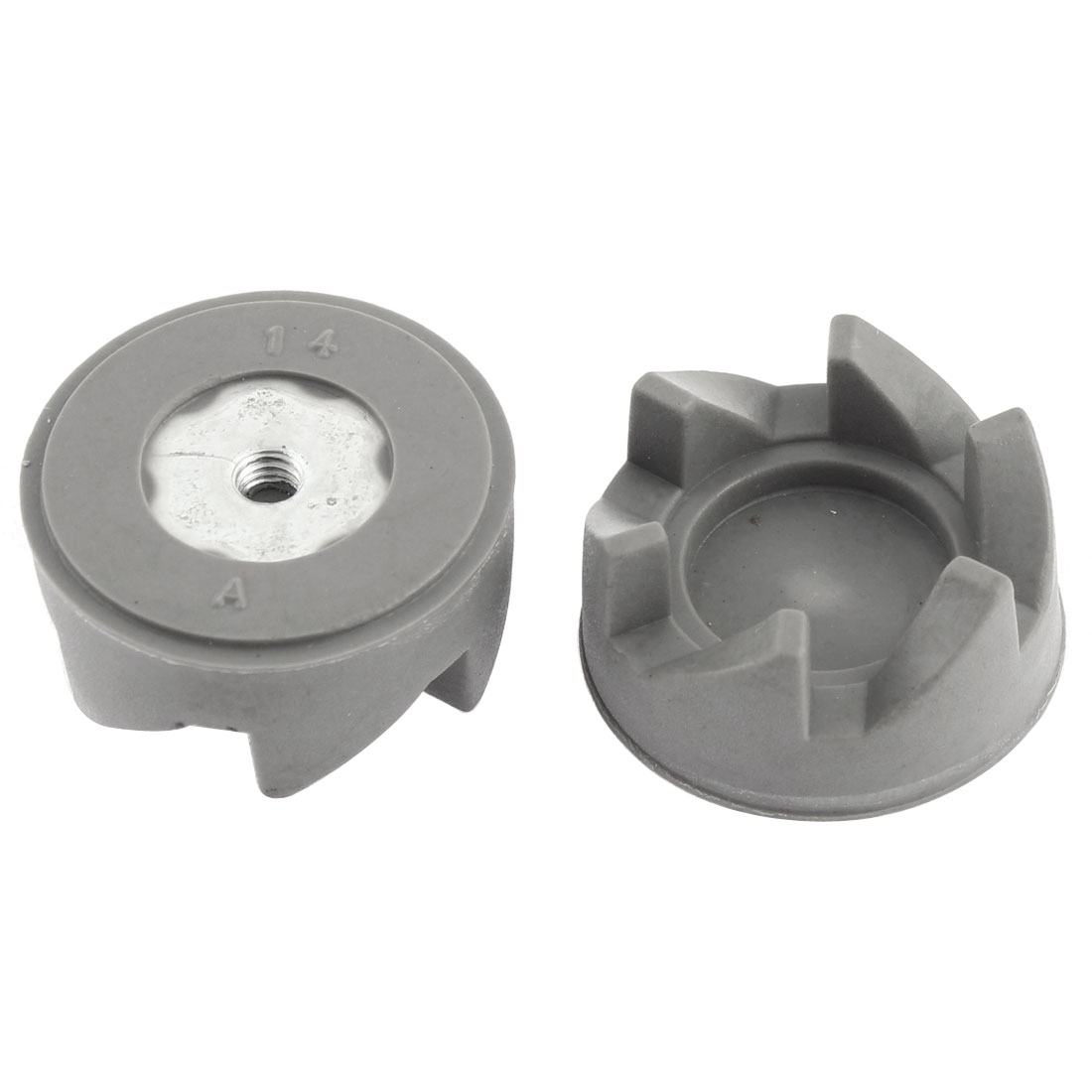 Household Kitchen Aid 6-Teeth Rubber Coupling Clutch Gear Gray 2pcs 34mm Dia for Food Blender