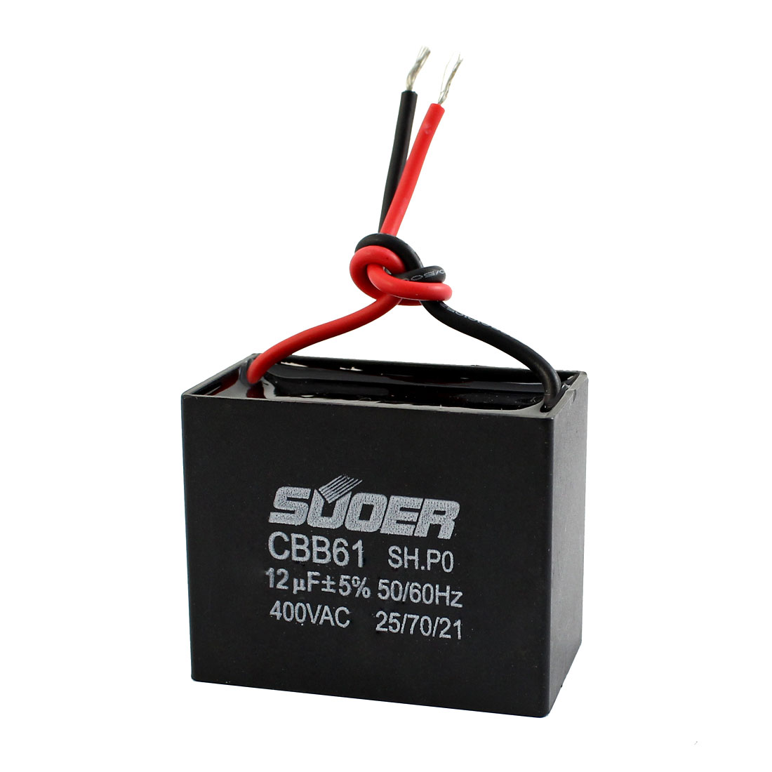 AC 400V 50/60Hz Black Polypropylene Film Rectangle Dual Wire Motor Run Capacitor 12uF CBB61 5%