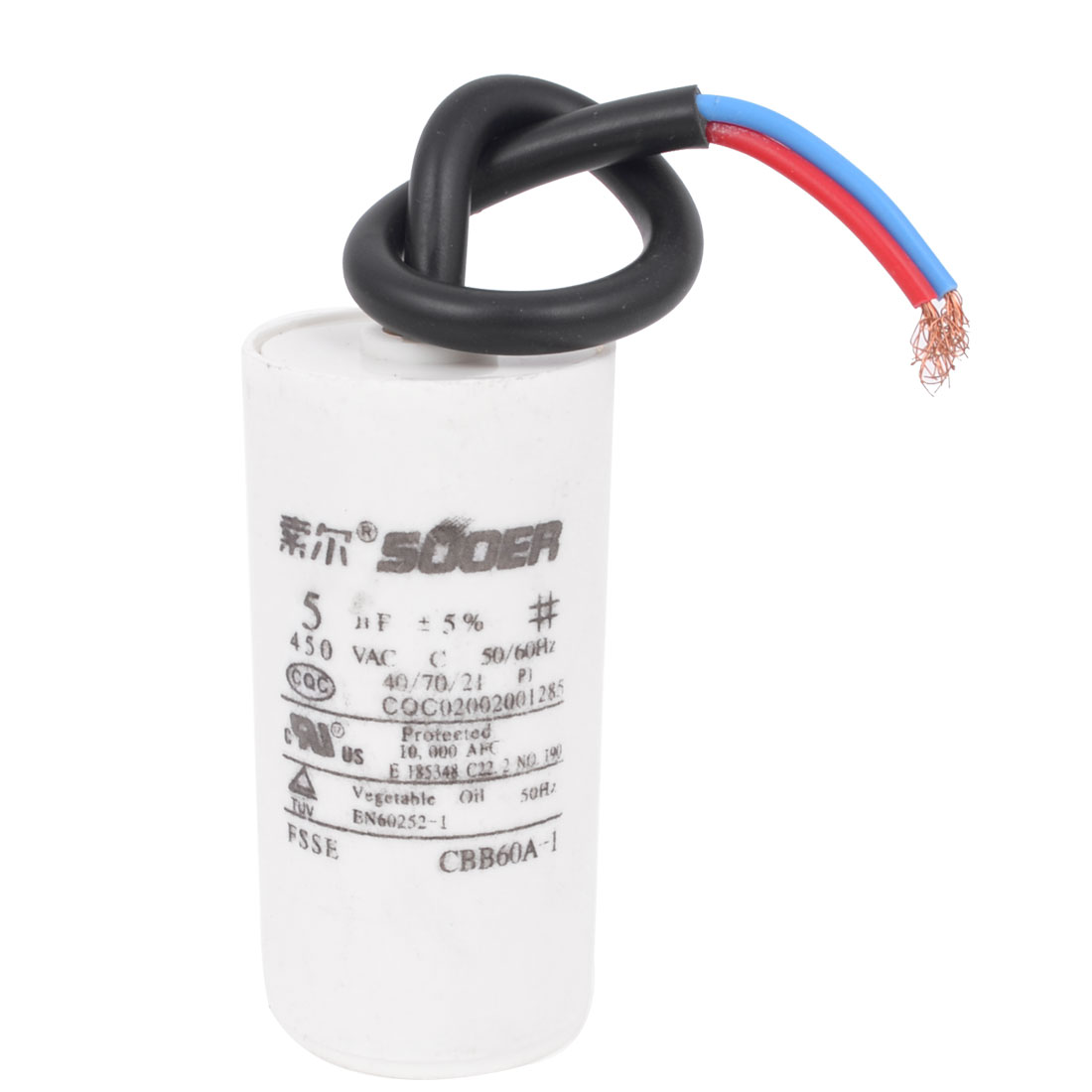 Washing Machine Washer Polypropylene Film Wire Motor Running Capacitor AC 450V 5uF 5% CBB60