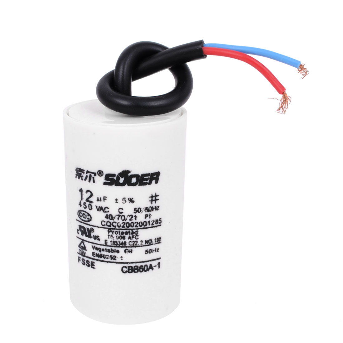 Washing Machine Washer Polypropylene Film Wire Motor Running Capacitor AC 450V 12uF CBB60