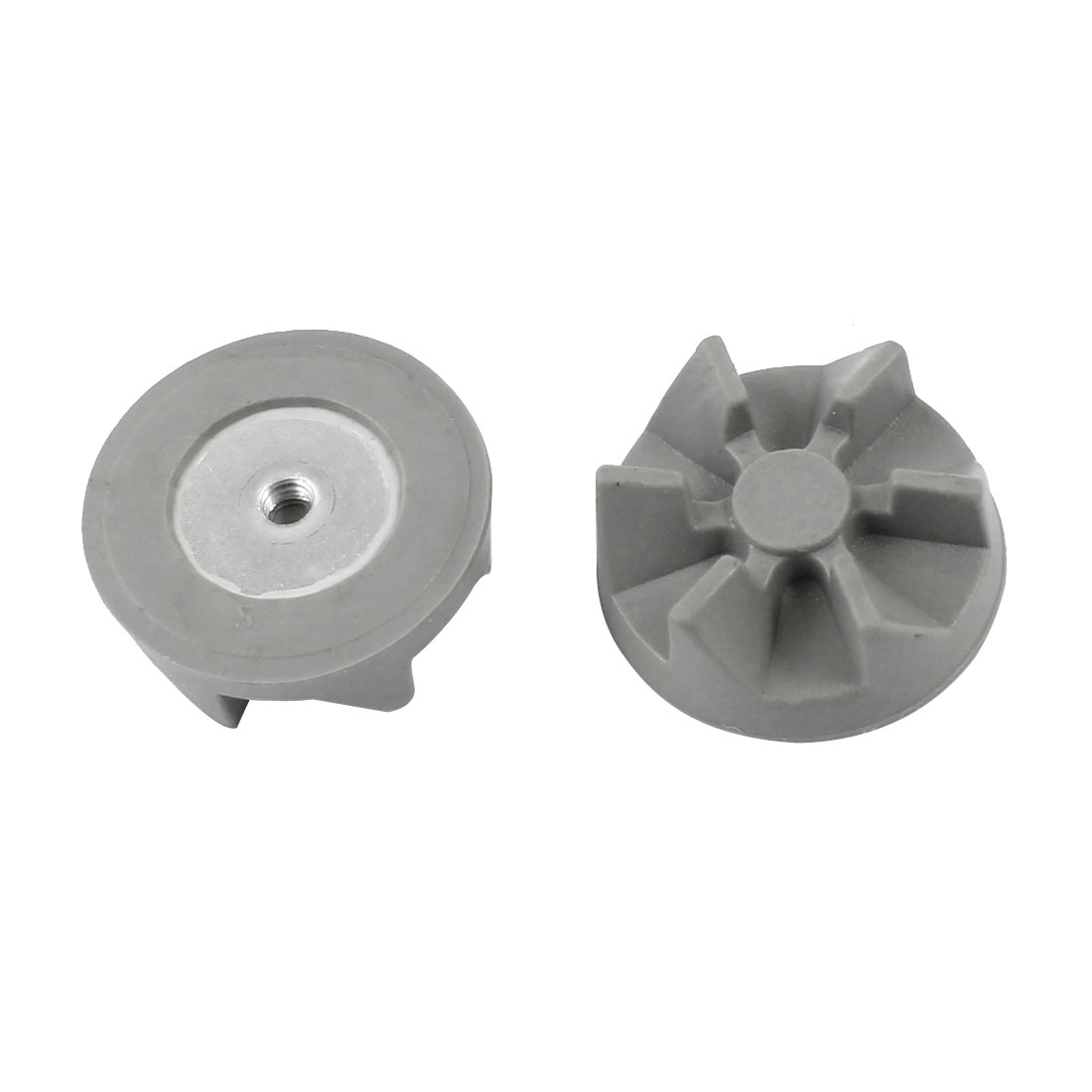 Household 6 Teeth Rubber Coupling Clutch Gear Gray 36mm Dia 2pcs for Blender