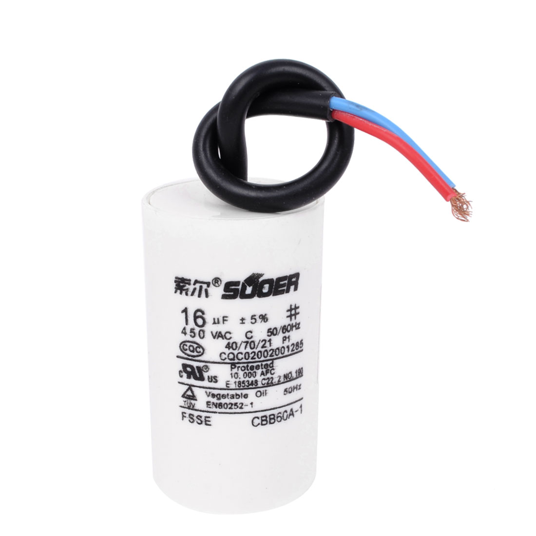 Washing Machine Washer Polypropylene Film Dual Wire Motor Running Capacitor AC 450V 16uF CBB60