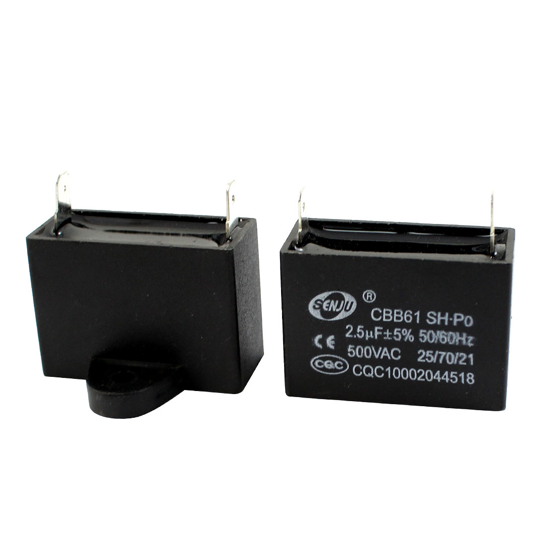 CBB61 AC 500V 2.5uF 2 Terminal Water Heater Motor Run Capacitor 2pcs