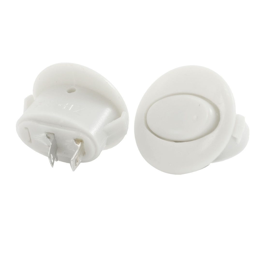 AC250V 1A Round Shape Button 2 Terminals Panel Mounting SPST Snap in Boat Rocker Switch 2pcs