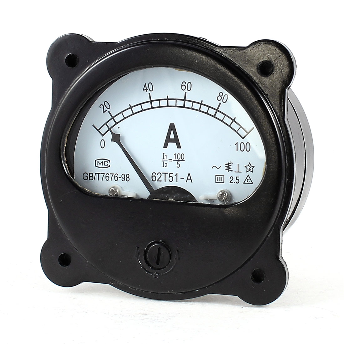 Black Analog Vertical Panel Ampere Meter Gauge Amperemeter AC 0-100A