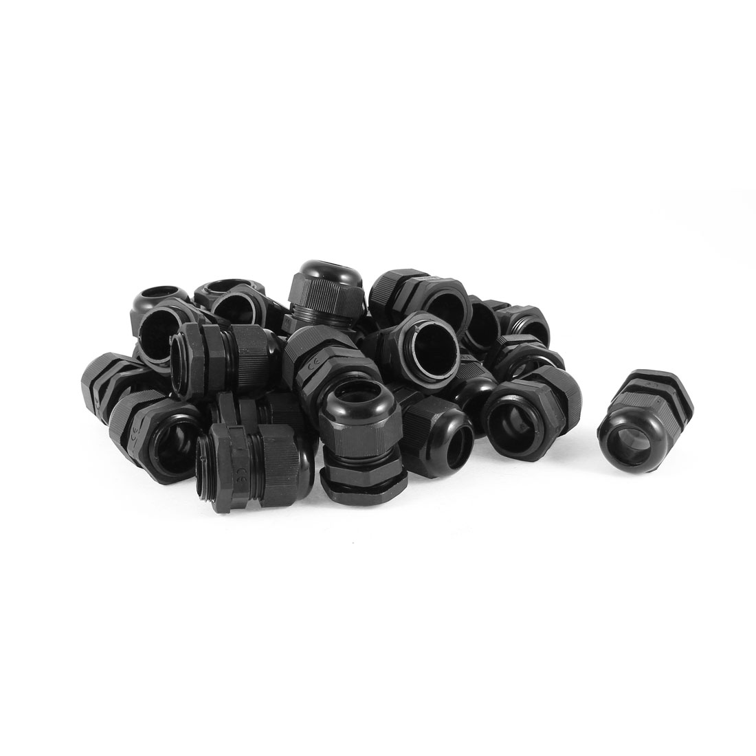 30 Pcs 12-15mm Cables Waterproof PG19 Black Plastic Glands Connectors