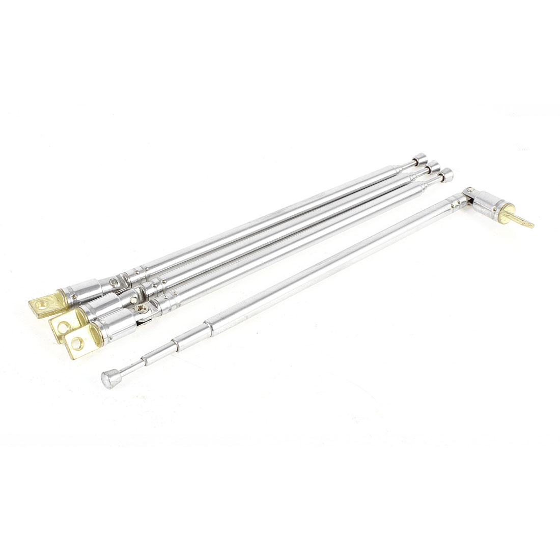4 Pcs Silver Tone 4 Sections Rotating TV Telescopic Antenna Aerial 38.5cm for Car