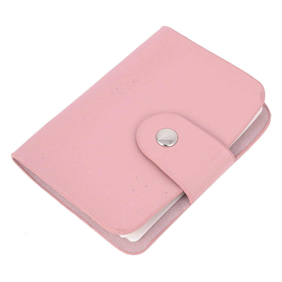 Office Clear Plastic 24 Slots Pink Faux Leather Cover ID Bank VIP Card Holder Pocket Case
