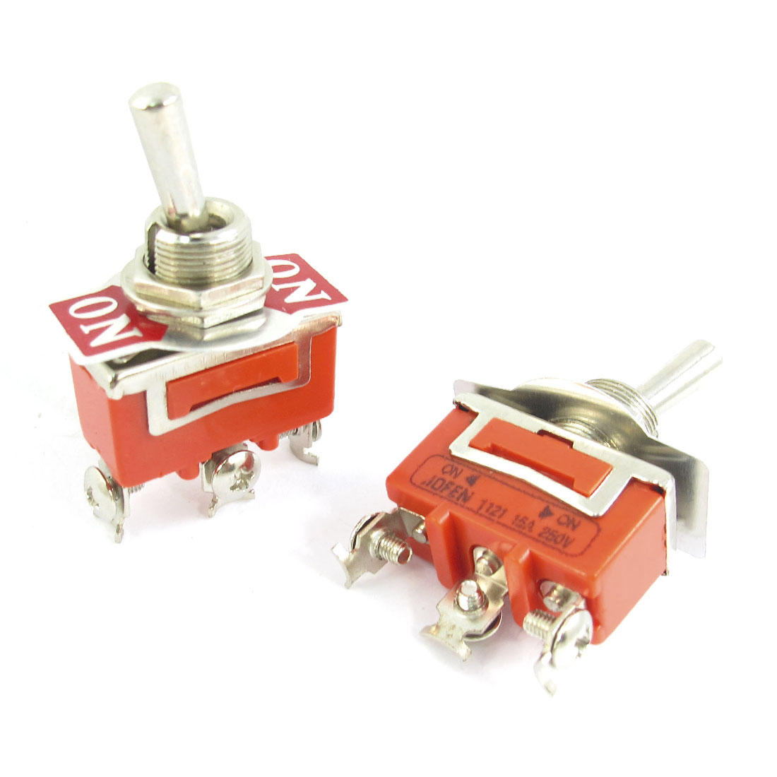 2 Pcs Panel Mount 3 Terminal Wobble Lever SPDT ON-ON Toggle Switch 250V 15A