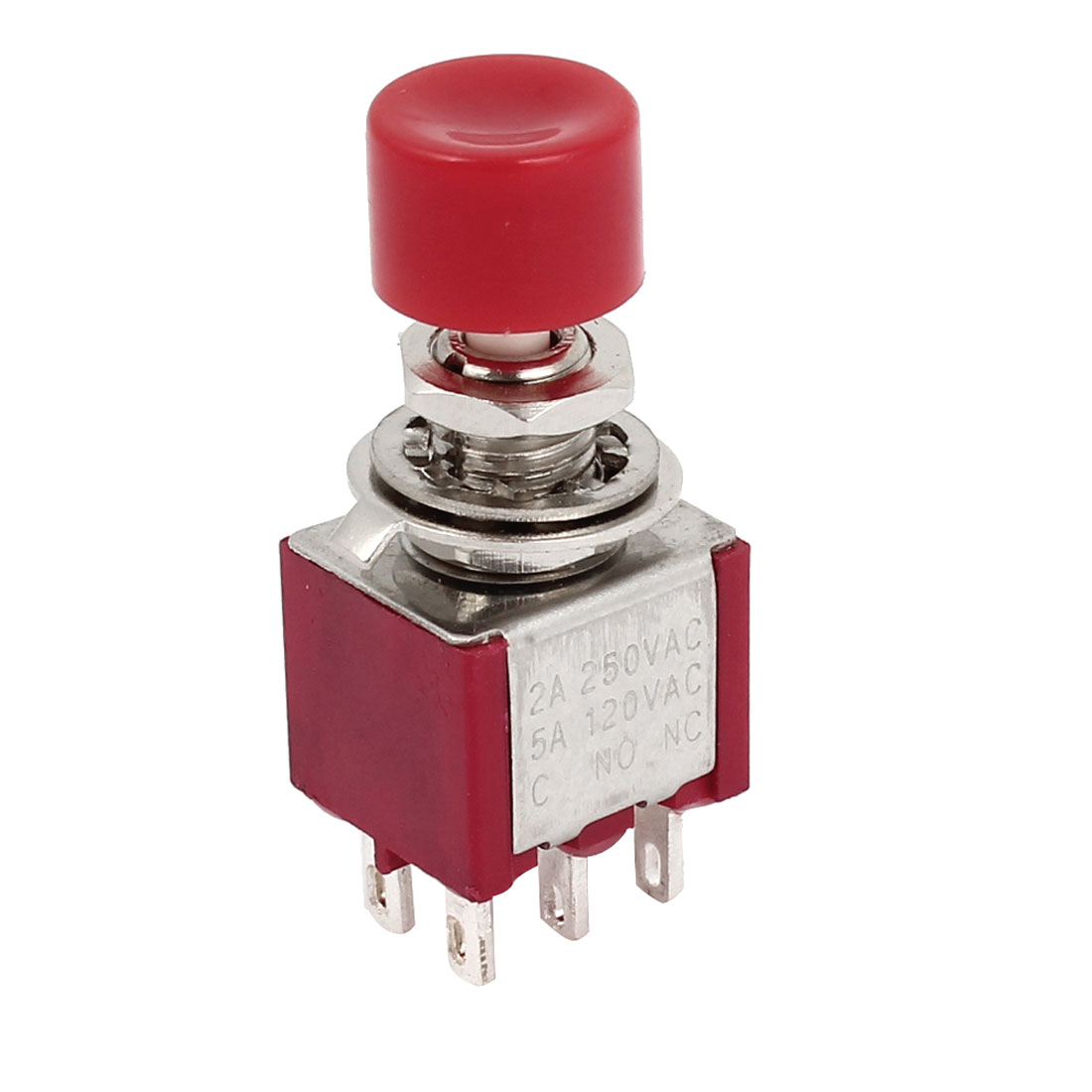 Red 6 Pin DPDT ON/ON Momentary Push Button Switch AC 120V 5A 250V 2A