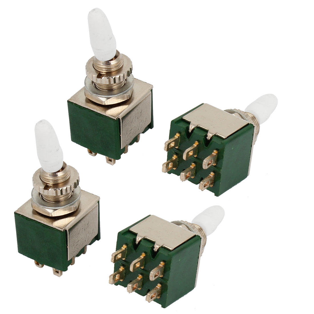 4pcs DPDT On/ON Dual Positions 6 Pin Latching Toggle Switch AC 250V 2A
