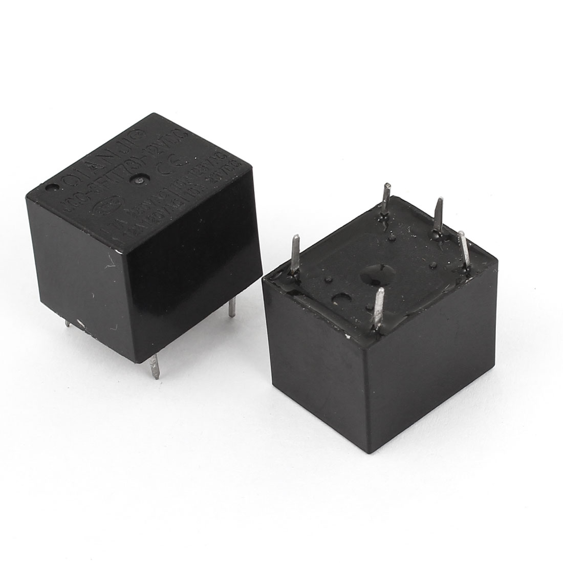 PBC Mount 5 Pins SPDT General Purpose Relay Black DC 12V Coil 2 Pcs