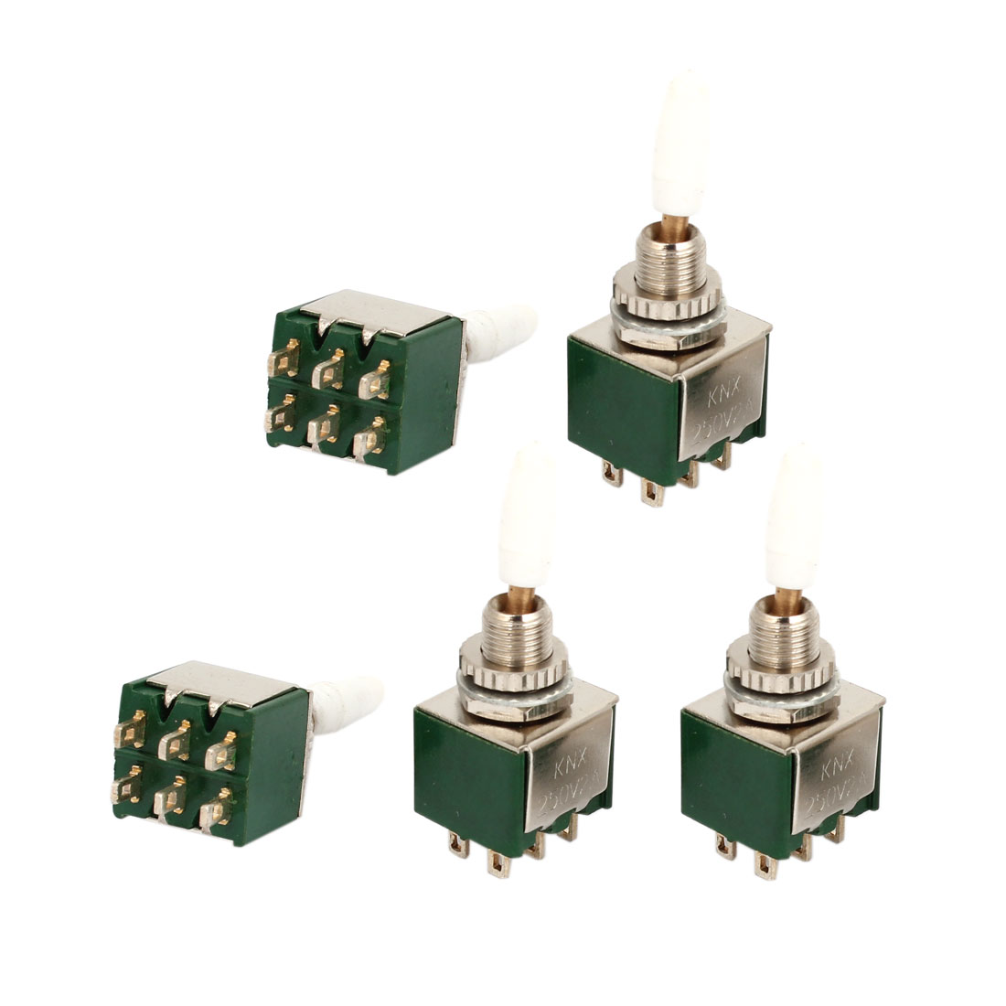 5 Pcs AC 250V 2A 6Pin DPDT ON/ON Self Lock 2-Position Toggle Switch