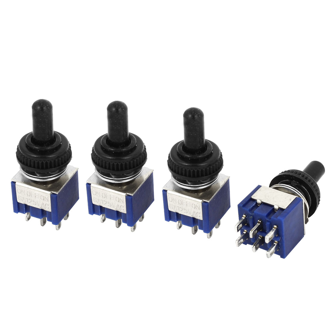4pcs AC 125V 6A on/off/on DPDT 6 Pins 3 Position Toggle Switch w Waterproof Cover