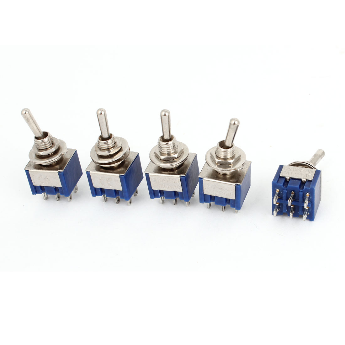 5 Pcs AC 125V 2A 6 Terminals On/Off/On 3 Position DPDT Toggle Switch