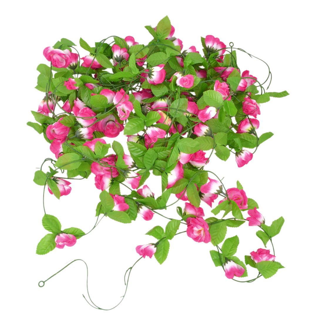 5 Pcs Artificial Green Leaf Fuchsia Rose Flower Hanging Vine Decoration