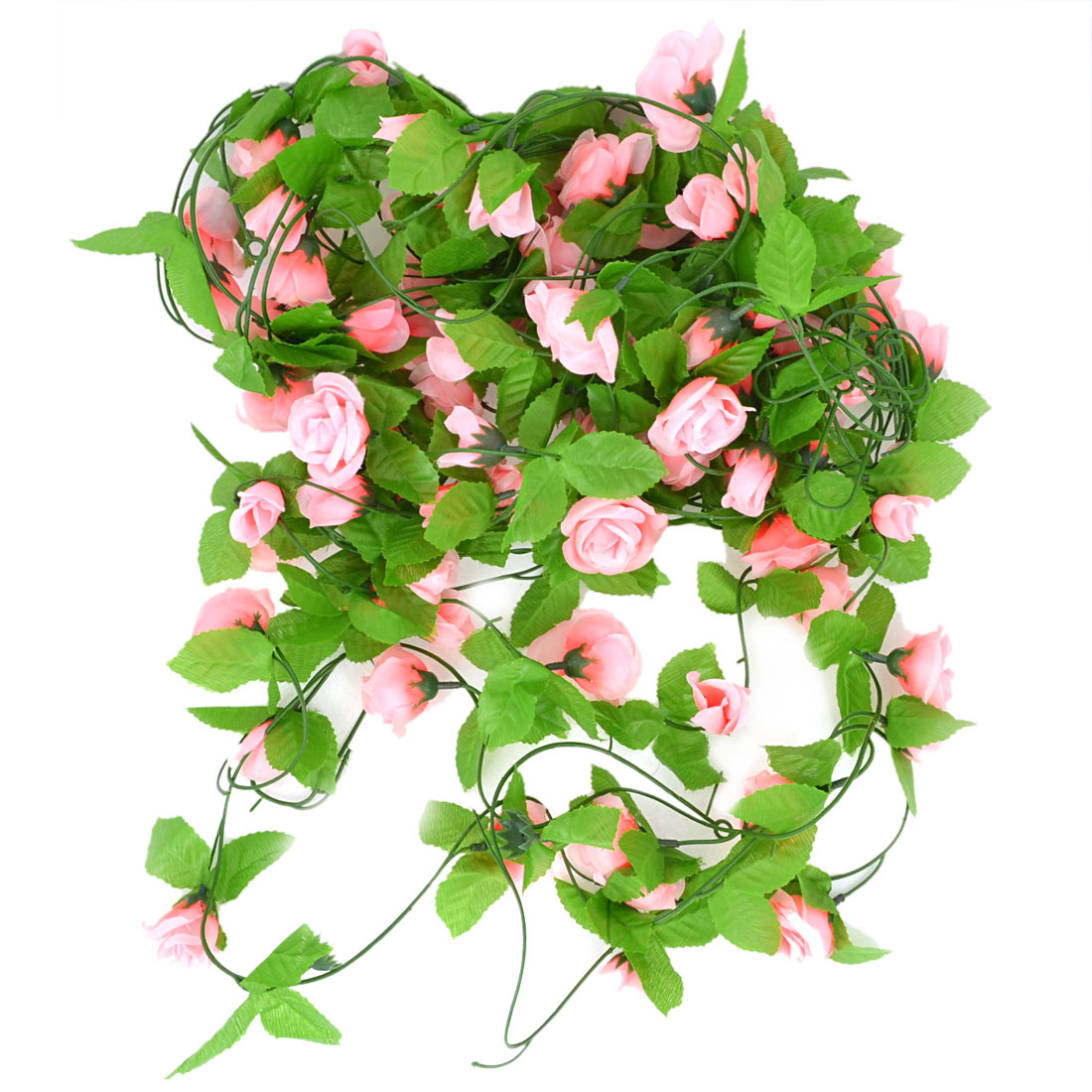 8.2Ft Long Artificial Simulation Pink Flower Green Leaf Hanging Vine 5 Pcs