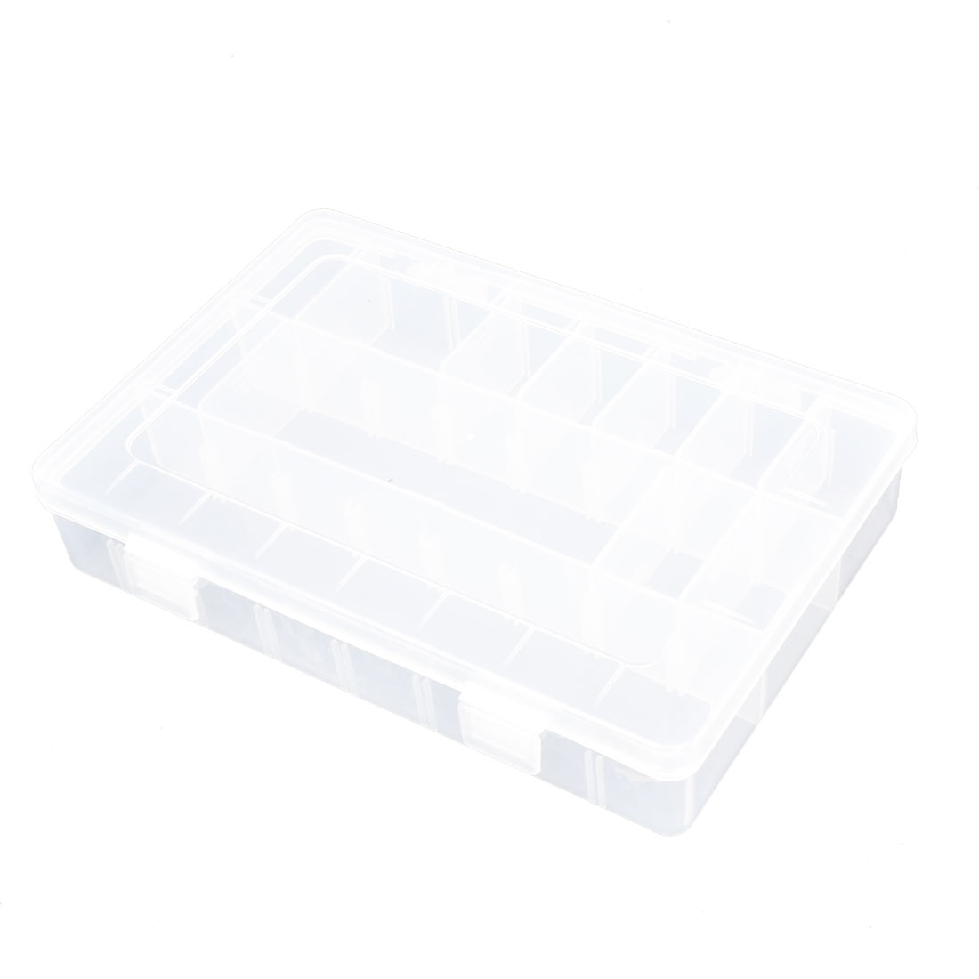 Clear Plastic Adjustable Compartments Jewelry Tool Storage Case Box