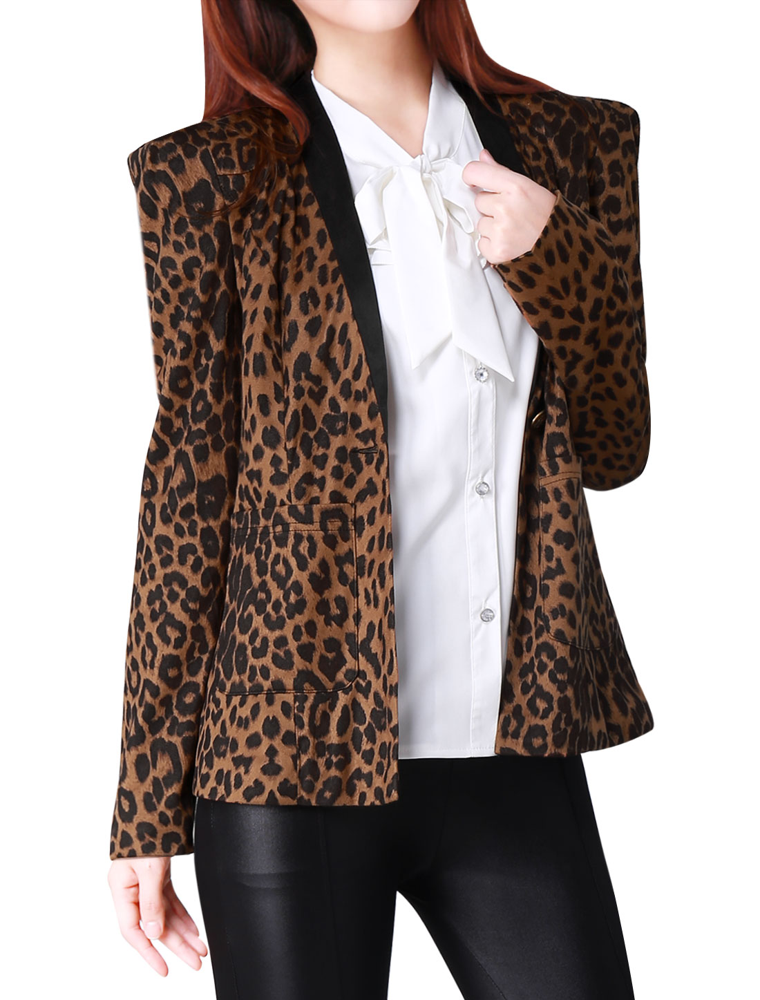 Ladies Deep V Neck Leopard Prints Two Pockets Blazer Coffee Light Brown XS