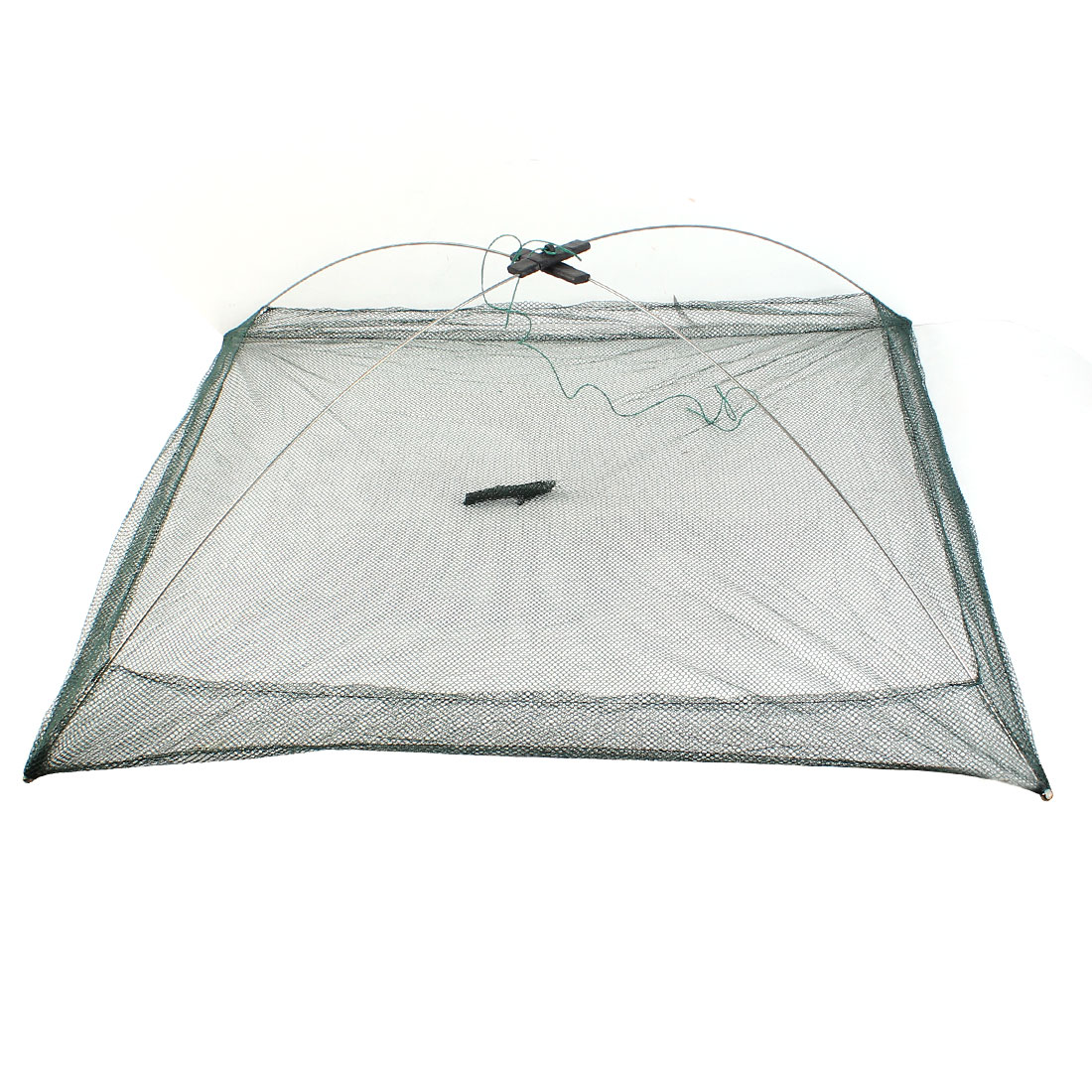 Foldable Fishing Crab Mesh Baits Umbrella Dip Net Dark Green 77cm x 77cm