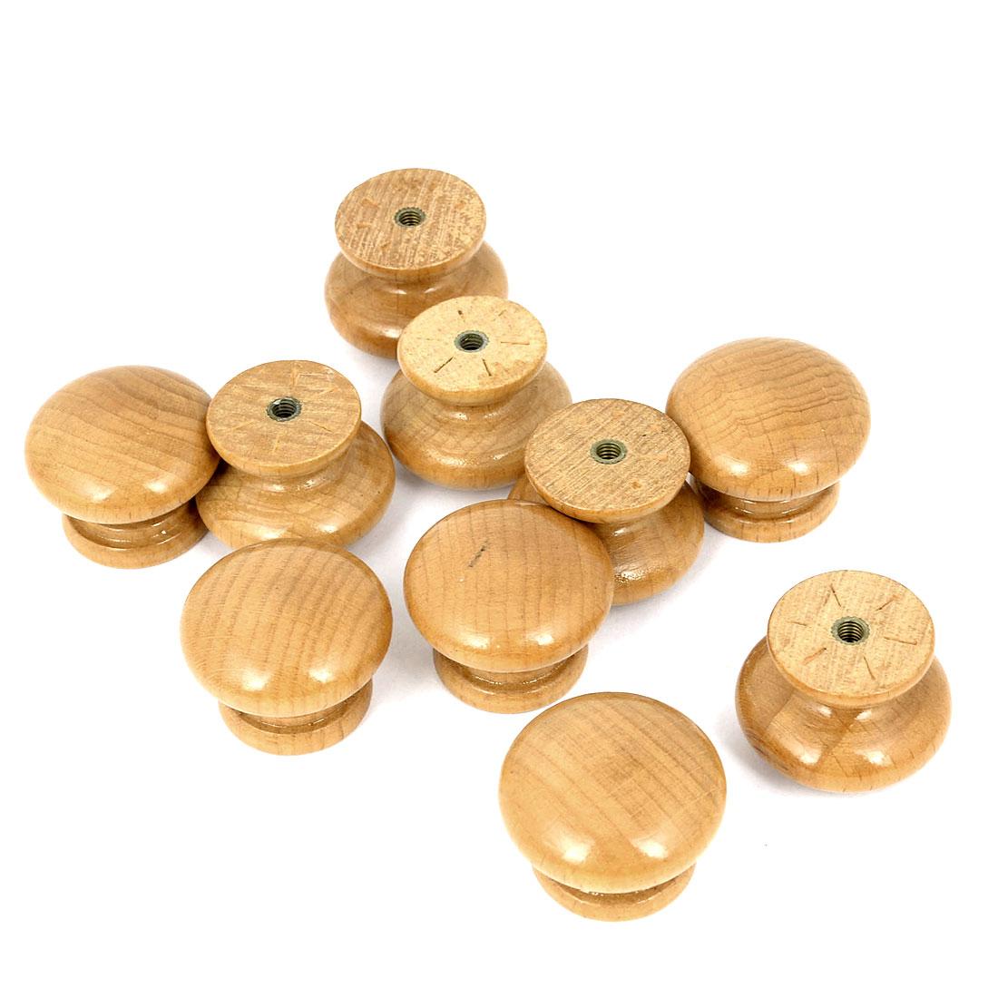 Cupboard Wardrobe Drawer Round Wooden Knobs Pull Knobs Light Brown 5 Pairs