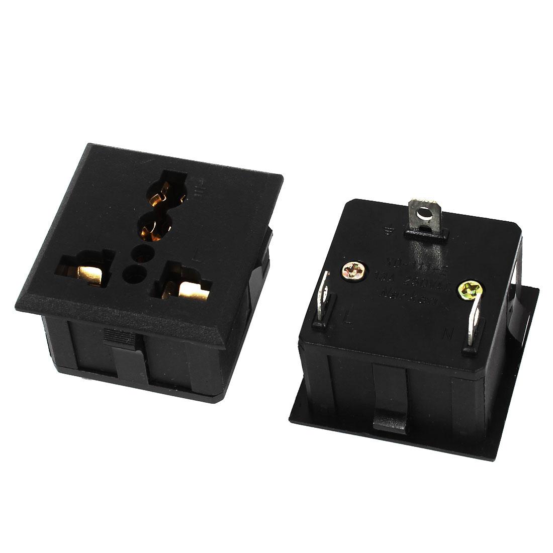 2 Pcs AC 250V 13A 3 Pin to AU EU UK US Socket Pannel Mounting Travel Converter Power Adapter