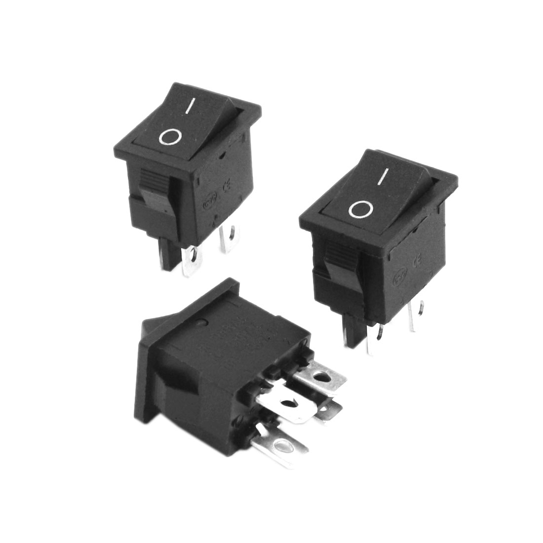 3Pcs DPST 2 Position ON/OFF 4 Soldering Pin Boat Rocker Switch AC250V 5/8A 125V/10A