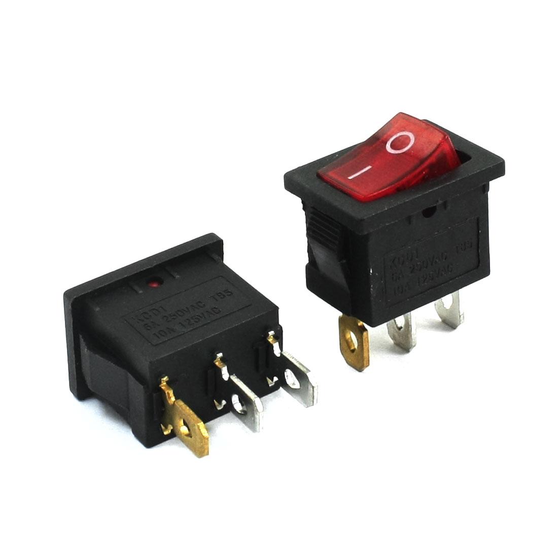 AC 250V 6A 125V/10A I/O 2 Position Red Light SPST Boat Rocker Switch 2 Pcs