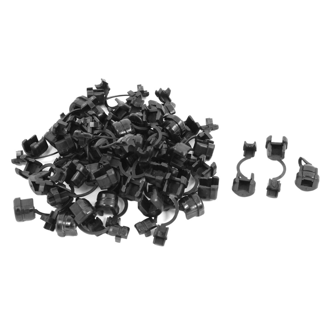 50 Pcs 4.5mm Dia Black Nylon Round Wire Cord Clip Clamp Strain Relief Bushing
